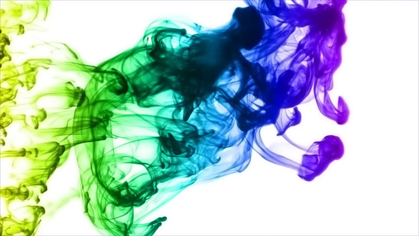 Rainbow Ink Smoke. Ink thrown into a mixture of water and glycerin to create elaborate abstract shapes. Color added as a special effect later for punch.