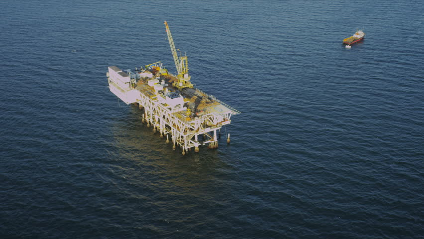 Aerial view of deep water oil production platform, America, USA - HD stock footage clip