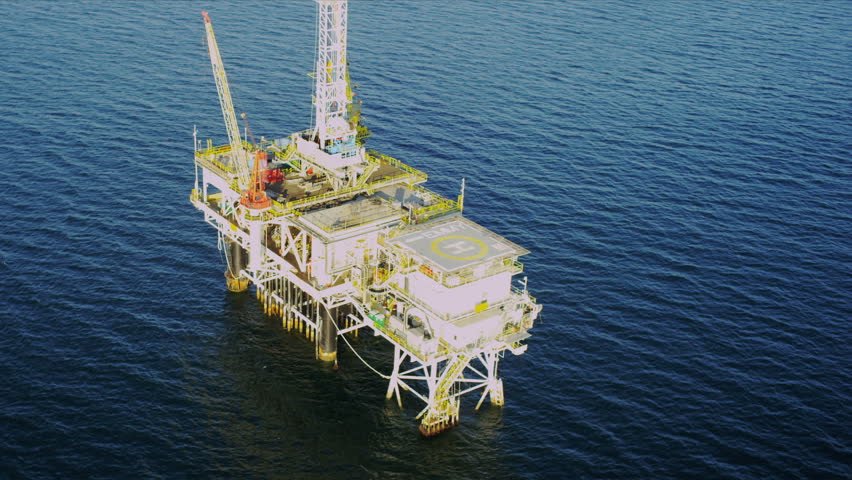 Aerial view of oil production rig deep ocean, Gulf Mexico, America, USA