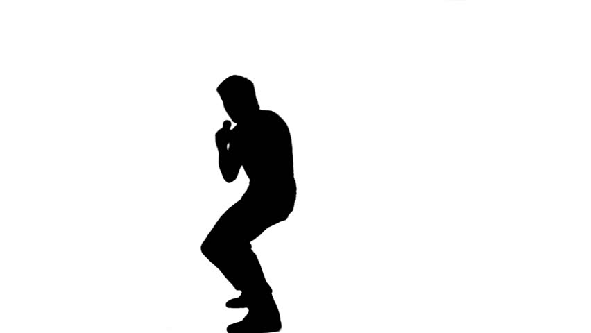 A silhouette energetic man is holding a microphone against a white background - HD stock video clip