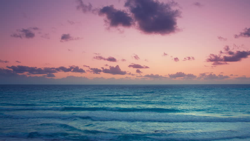 beautiful sunrise over the caribbean sea, mexico. - HD stock footage clip