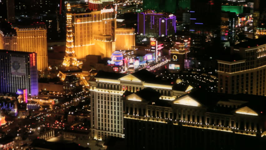 Las Vegas - Circa 2010: The Las Vegas strip in 2010. View of the Las vegas strip at night in Las Vegas, Nevada. - HD stock footage clip