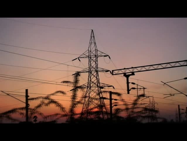 Electrical transmission tower - HD stock video clip