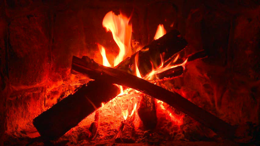 Rumsford stone fireplace night