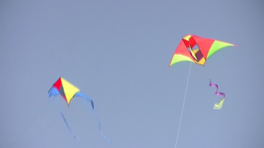 two kites on sky  - HD stock footage clip