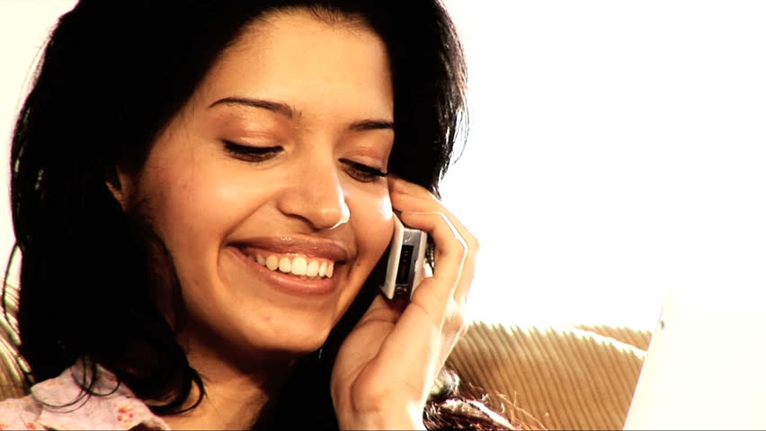 Pretty Latino Girl Using Her Mobile Phone Stock Footage ...