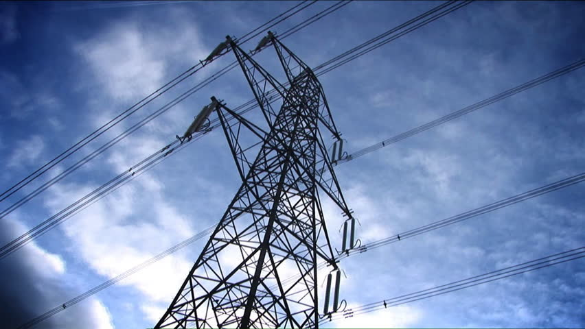 time-lapse blue sky electricity pylon white clouds - HD stock footage clip