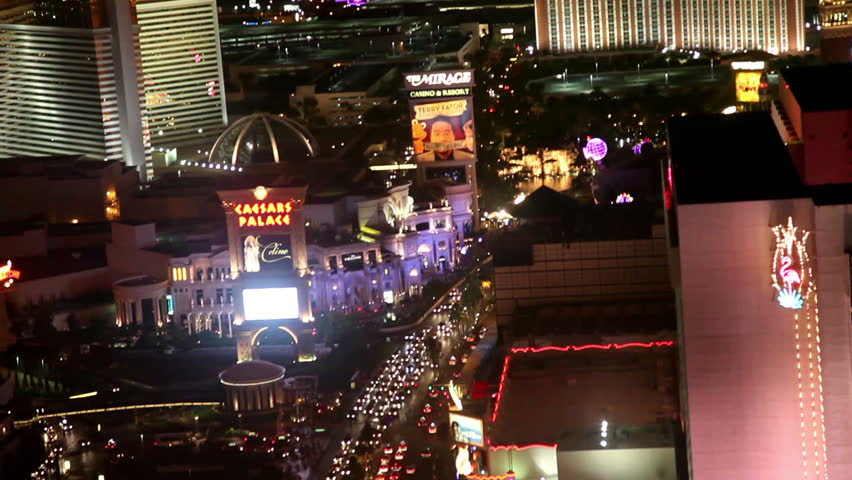 LAS VEGAS, NV - JUNE 6: aerial view of Las Vegas strip north at night June 6, 2012. Las Vegas is one of the top tourist destinations in the US - HD stock footage clip