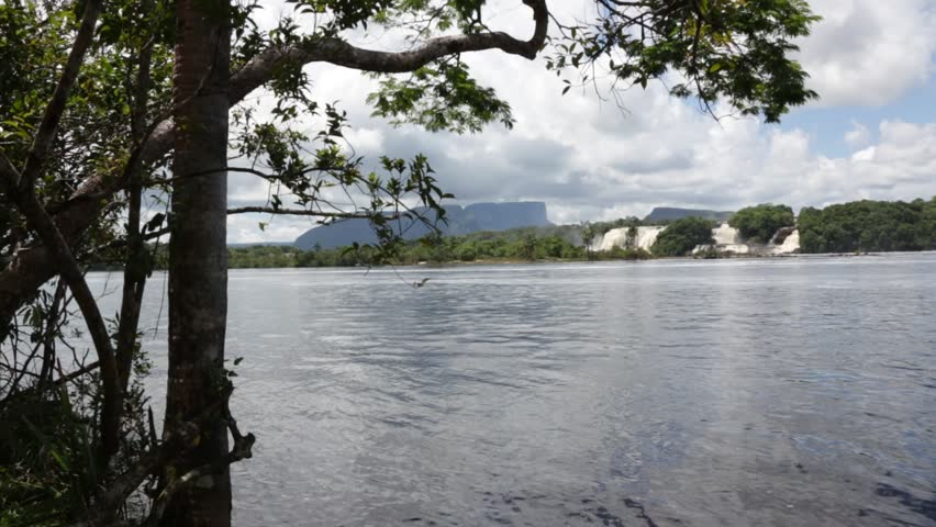 View of waterfalls in the lagoon of Canaima national park - Venezuela, Latin America - HD stock footage clip