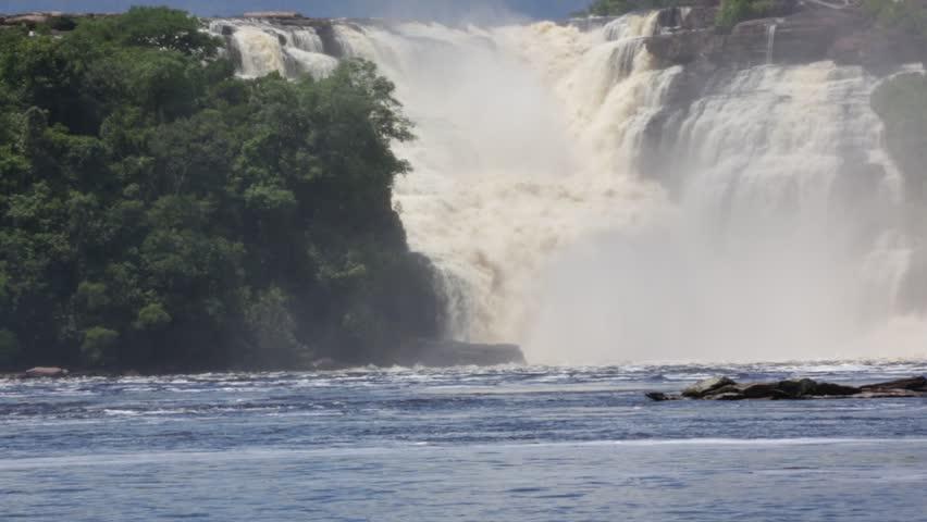 Golondrina waterfall in the lagoon of Canaima national park - Venezuela, Latin America - HD stock footage clip