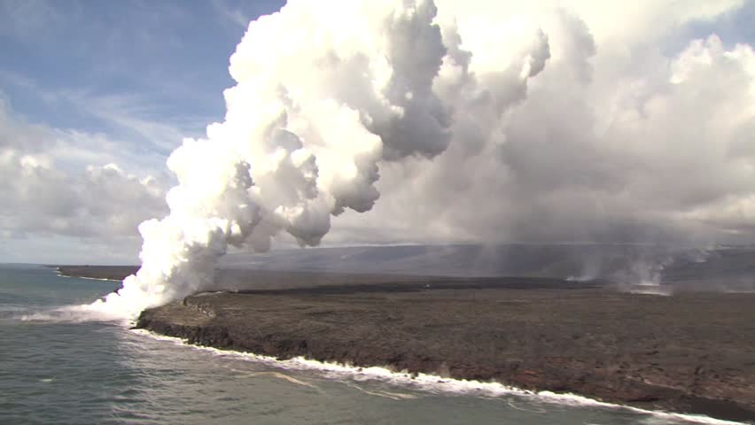 Aerial View Ocean, Volcanic Shore With A Steam Cloud Stock Footage ...