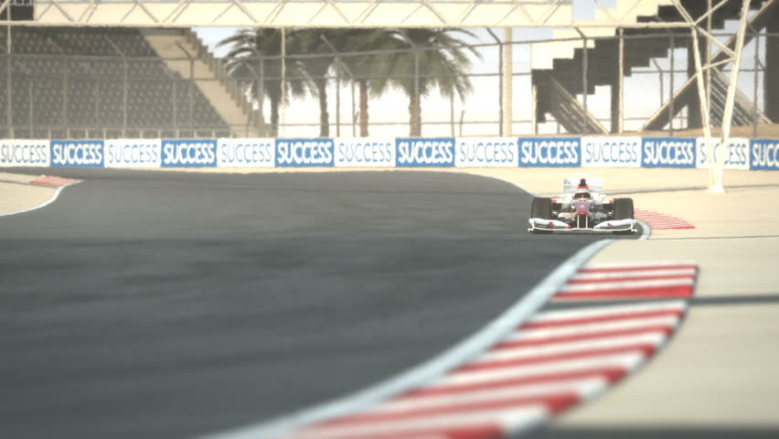Formula One race car on desert circuit - high quality 3d animation - visit our portfolio for more - HD stock video clip