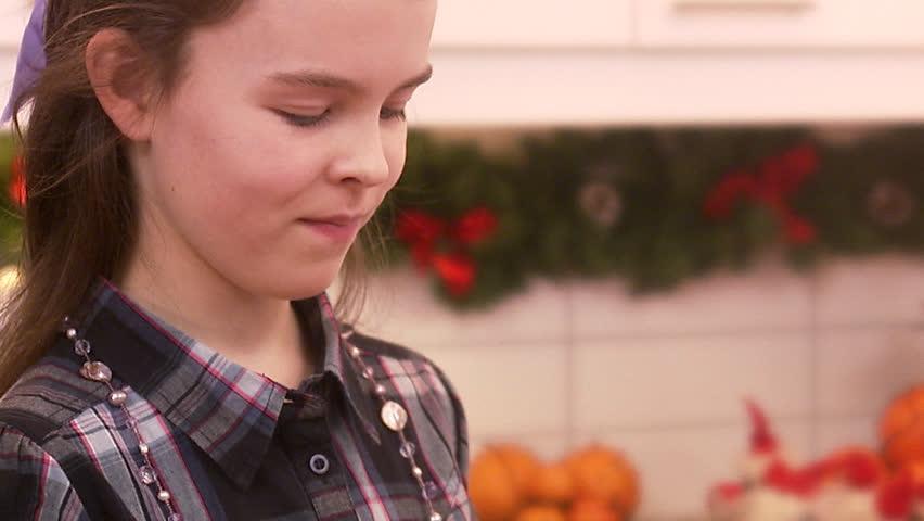A girl with a Christmas gift