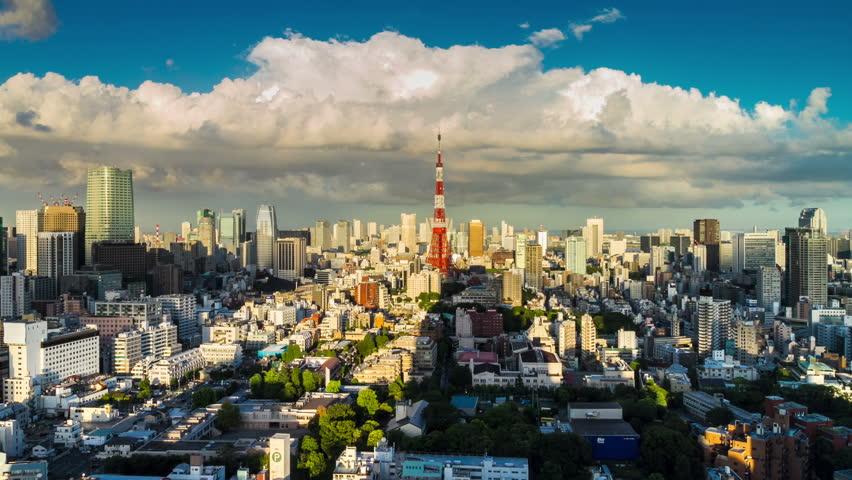 Tokyo is the world's most populous metropolis and is described as one of the three command centers for world economy August 21, 2012 in Tokyo, Japan.  Skyline. timelapse. Day to night.