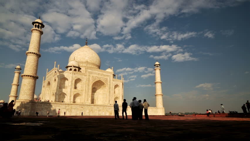 AGRA, INDIA - NOVEMBER 18: Timelapse of tourist activity inside Taj Mahal on November 18, 2010 in Agra, India.