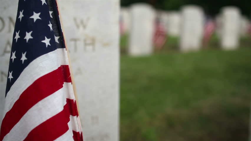Crane/Dolly Shot Rising Military Cemetery - HD stock video clip