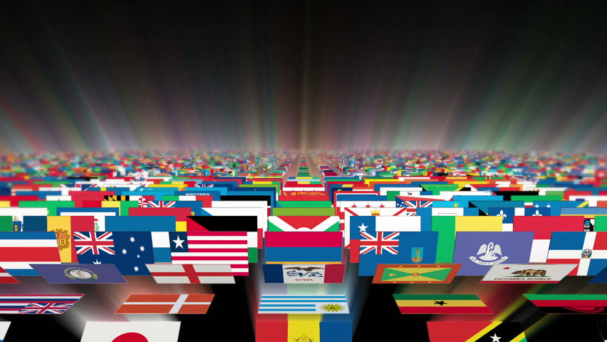 Flags Of The Different Countries On A Background Of The ...