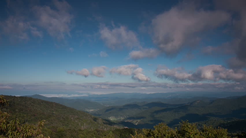 Blue Ridge Parkway Mountain View Cloud Sky Landscape Time-Lapse Video