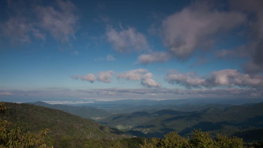Blue Ridge Parkway Mountain View Cloud Sky Landscape Time-Lapse Video