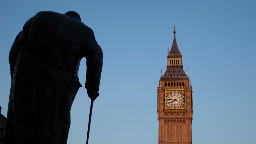 Big Ben and Churchill sunset time lapse