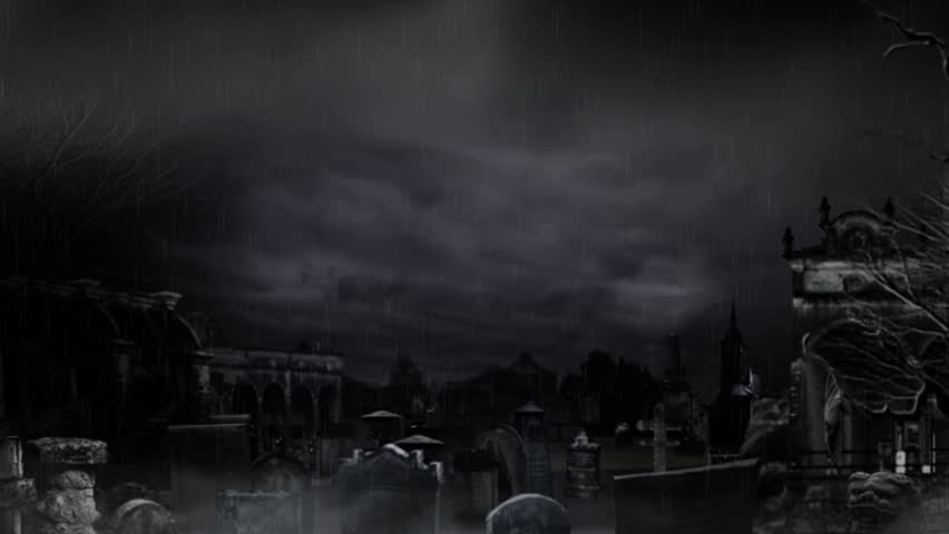 Cemetery - dark and dangerous place - especially during the Halloween Night! - HD stock footage clip
