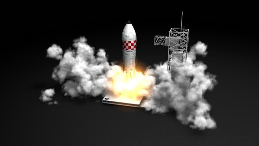 3d animation, Rocket launching.