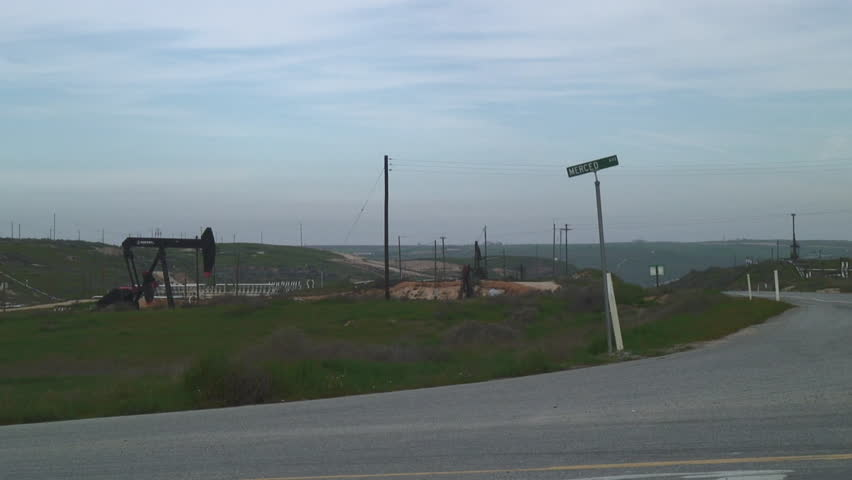 Road Side View Of Oil Field In Central California - HD stock footage clip