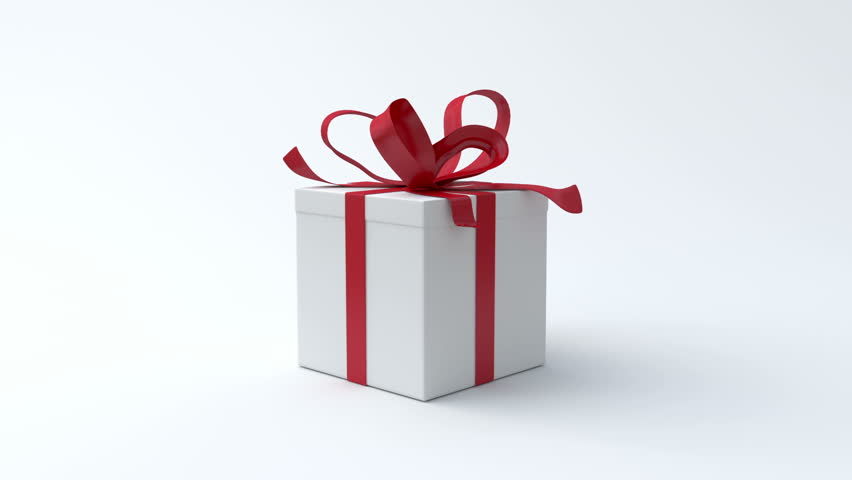 White gift box with red ribbon opening. Include alpha channel and color channel to key individual elements and tracking - HD stock footage clip
