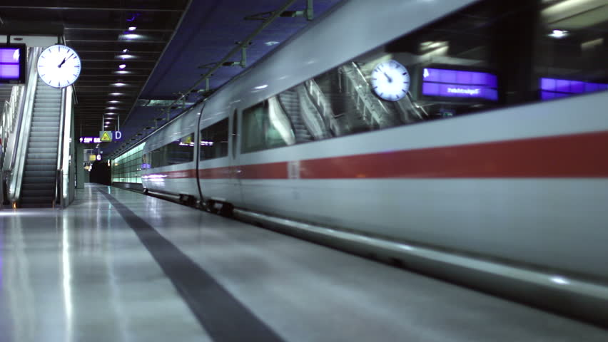 Modern Train Station with People and Train Dynamic  in 1080p HD