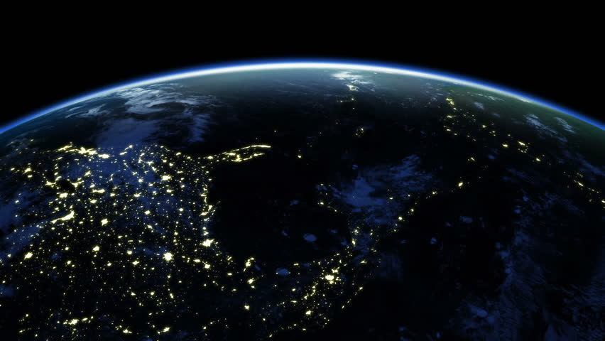 Earth rotation 360 degrees. Cities at Night. Looped animation. HD 1080.
