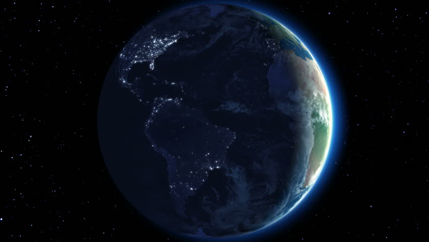 Beautiful Earth rotation 360 degrees. Night. Looped animation. HD 1080.