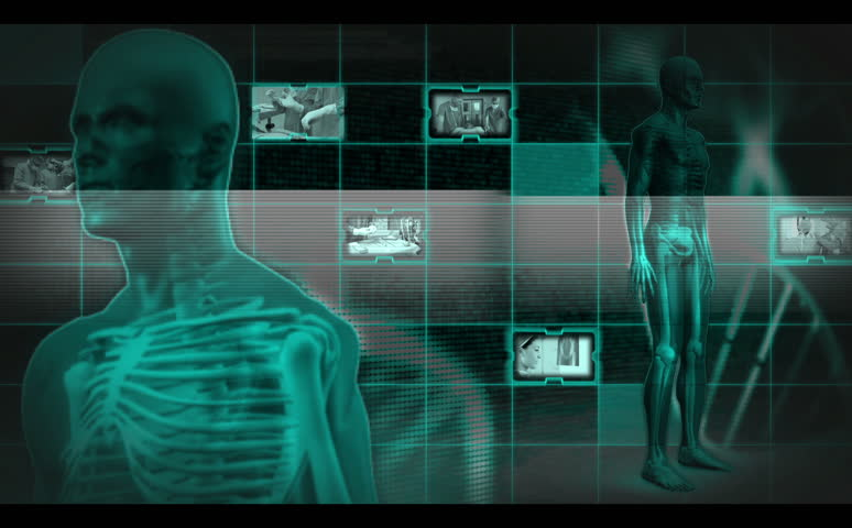 Skeleton spinning around while videos of doctors appearing - HD stock video clip