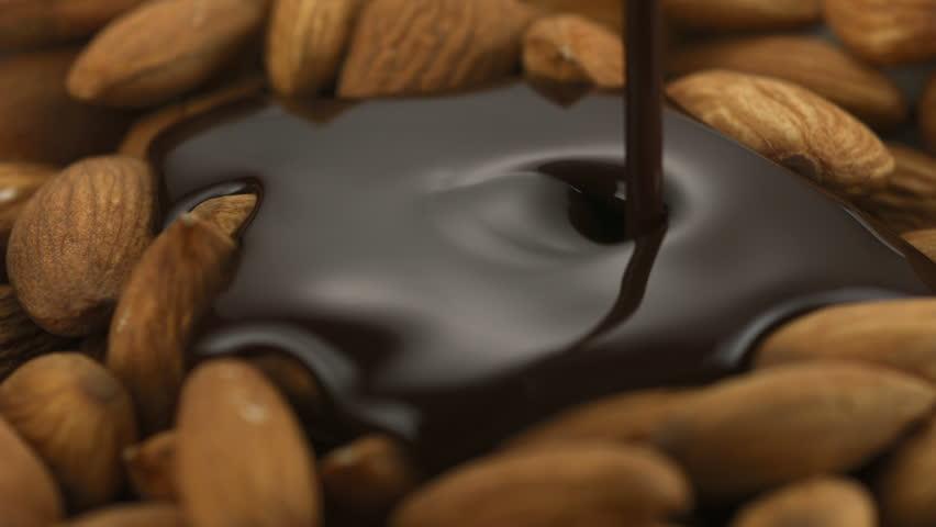Chocolate sauce on almond shooting with high speed camera, phantom flex.