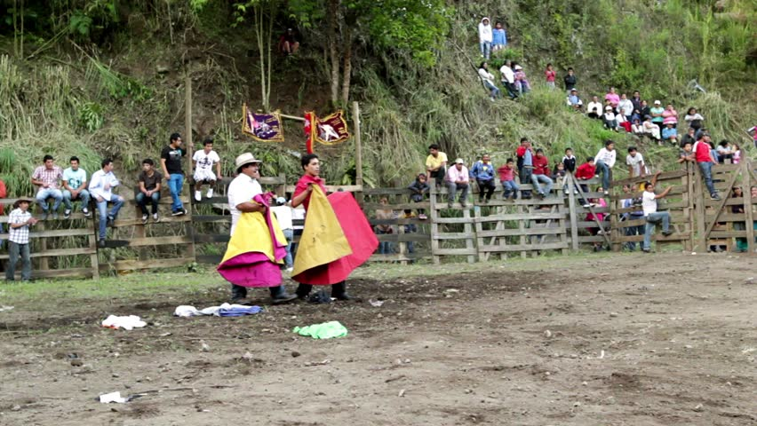 BANOS DE AGUA SANTA,ECUADOR - 28 OCTOBER 2012:Improvised bullfights for the city ceremony gives people the opportunity to try out their skills in bullfighting - HD stock footage clip