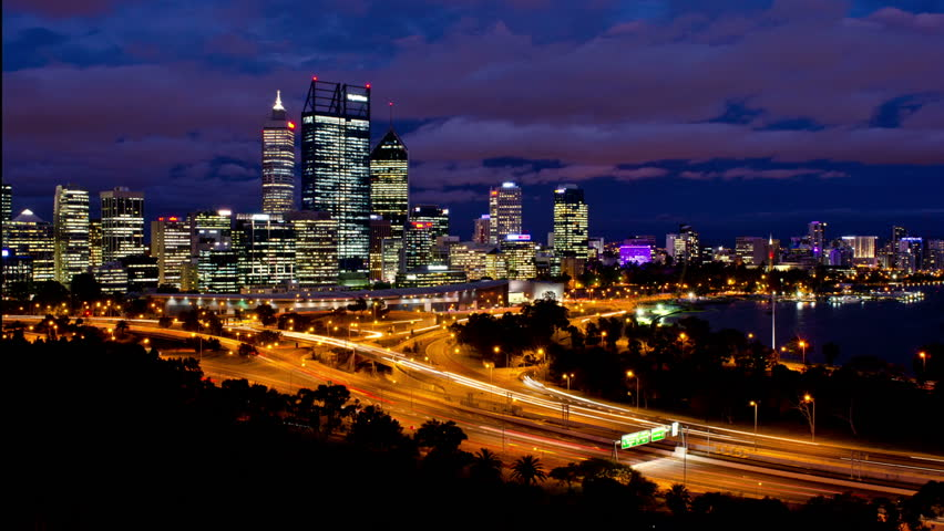 Timelapse of Perth City, Australia, as seen from King's Park, from late dusk to night time - 1080p