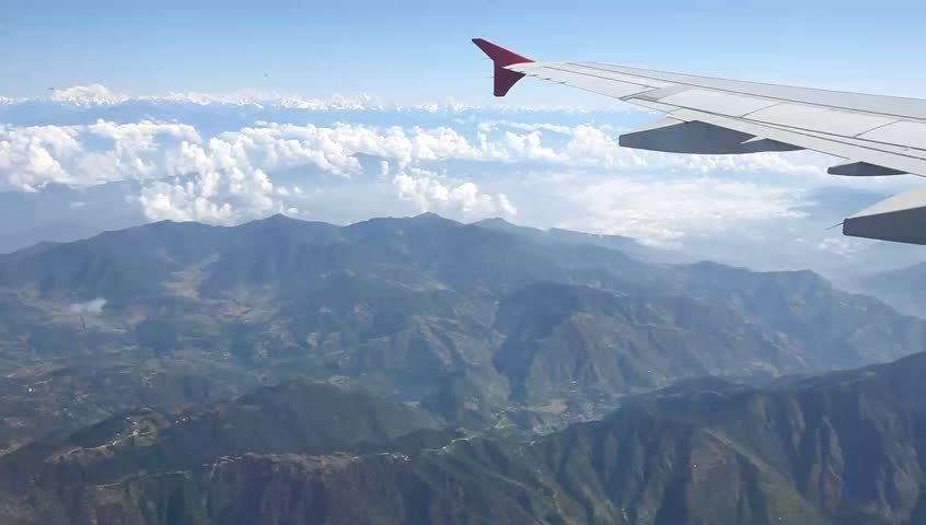 View from the airplane on the foothills of the Himalayas, Nepal