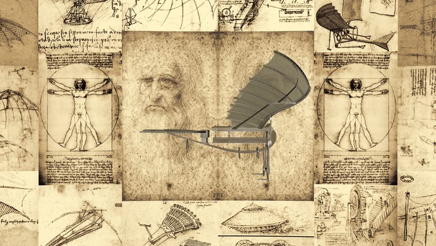 Leonardo Da Vinci Antique Flying Machine Animation 01