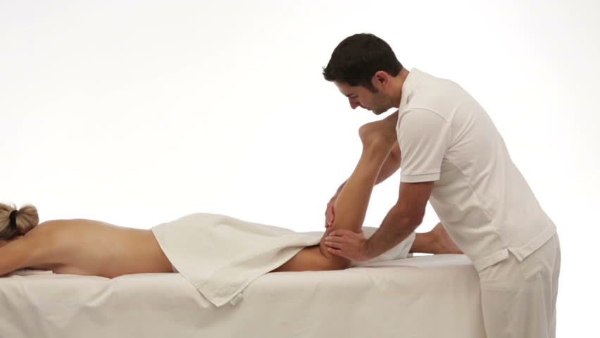 isolated leg massage, woman - HD stock video clip