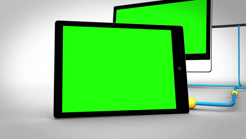Animation with clouds connecting to multiple devices in chroma key