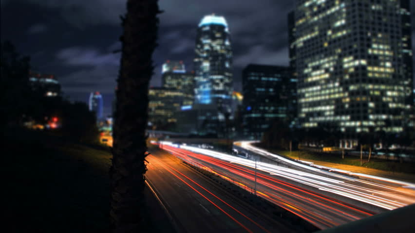 Panning Night Highway Traffic Los Angeles Downtown