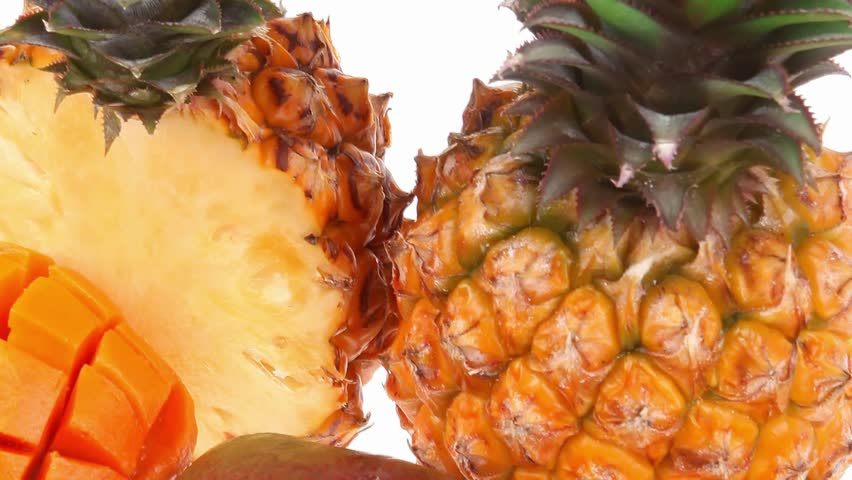 exotic diet food - set of lot of tropical fruits include pineapple and mango isolated over white background