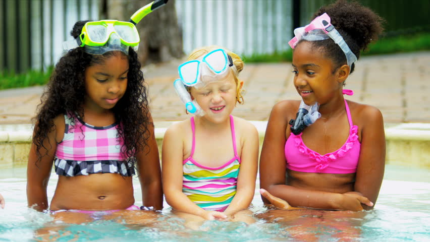 Cute Multi Ethnic Friends Outdoor Pool
