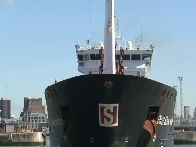 chemical tanker sailing into Liverpool docks - HD stock video clip