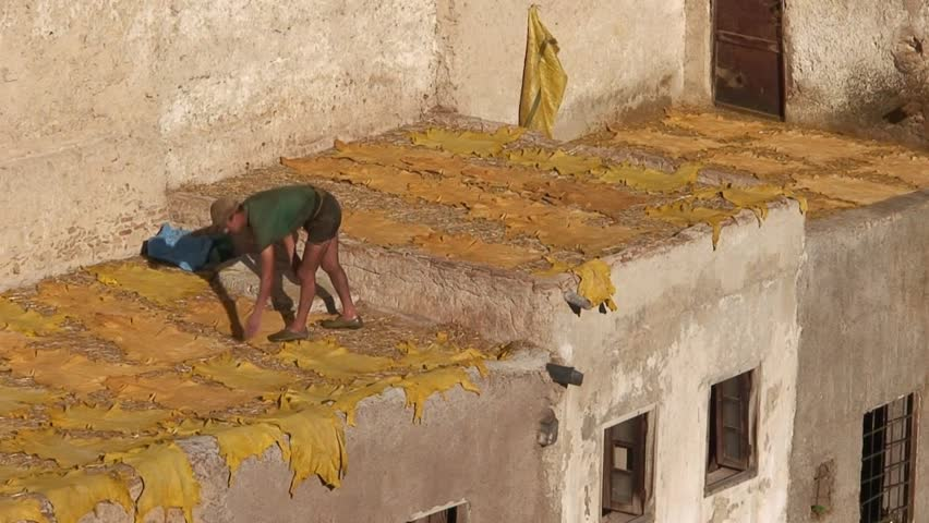 FES, MOROCCO - CIRCA 2007: Man Laying Skins at Moroccan Tannery