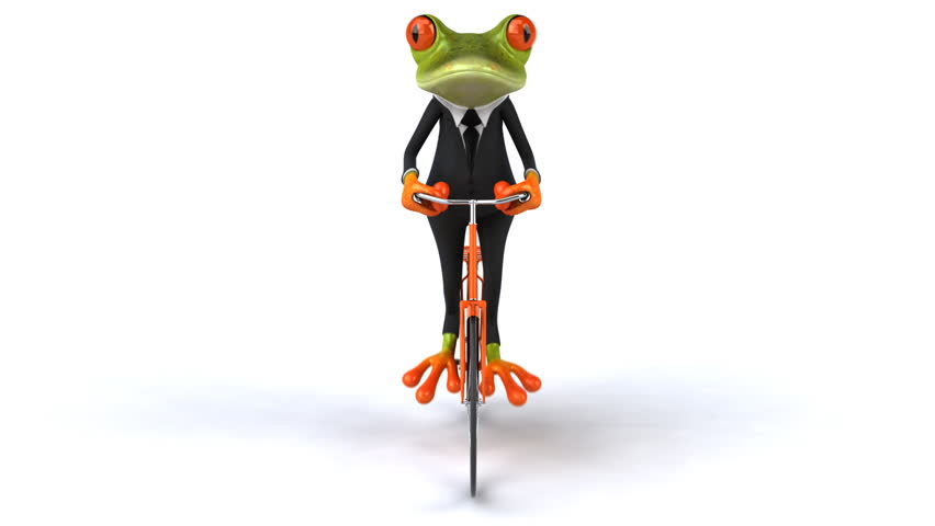 Fun frog with bike - HD stock footage clip