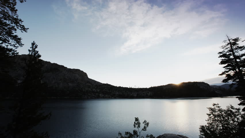 A time lapse of sunrise over Echo Lake, from night to day