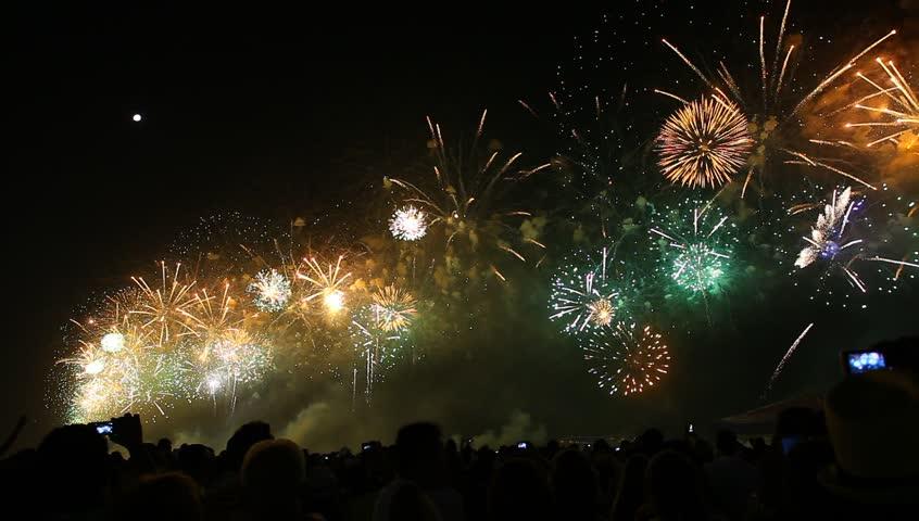 Fireworks, Copacabana, Rio de Janeiro - HD stock footage clip