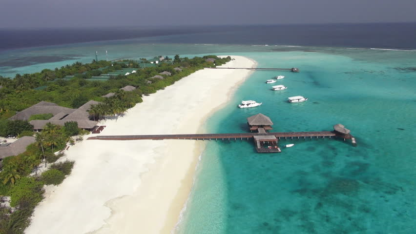 aerial view of maldive island with amazing lagoon