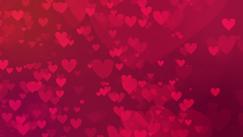 valentine's day loopable abstract background, flying hearts - HD stock video clip