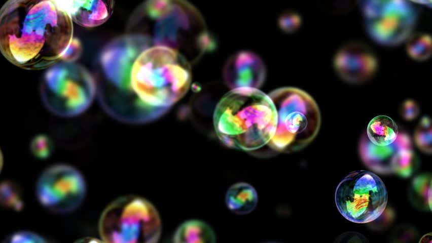 Bubbles Screensaver Black Background: Iridescent Floating Bubbles With Black Background Stock